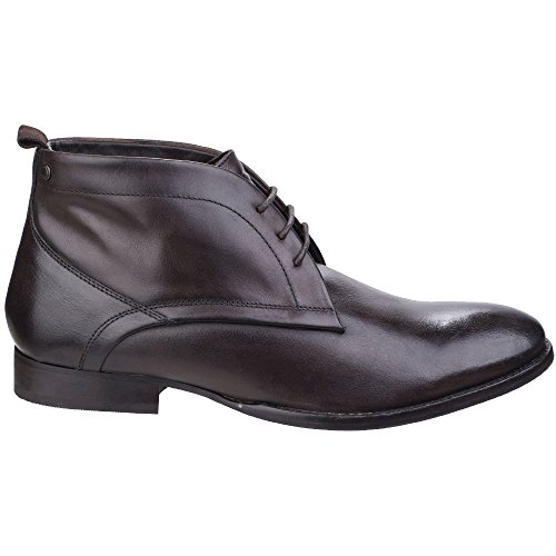 Base London Mens Deacon Busnished Chukka Leather Ankle Lace Up Boots Burnished Cocoa