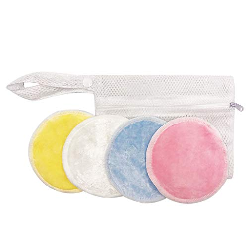 ErYao 8~20 Packs Cotton Rounds - Reusable Organic Bamboo Makeup Remover Pads for face - Eye Makeup Remover Cotton Rounds Reusable Facial Cotton Rounds with Laundry Bag (Multicolor, 8pcs)