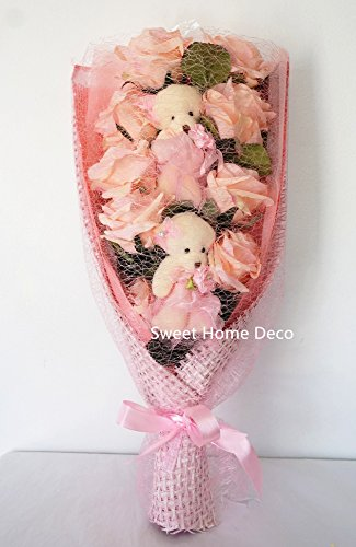 Sweet Home Deco 17'' Silk Flower Rose and Plush Bear Bouquet for Birthday/Holidays Gift (Pink)