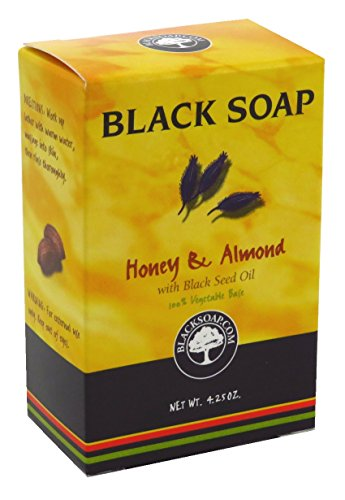 Sunaroma Black Soap Honey & Almond 4.25 Ounce Boxed (125ml) (6 Pack)