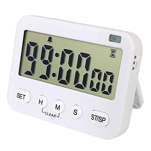 (Zealforth Digital Countdown Cycle Timer Clock - Magnetic Count Up Down Kitchen Timer with Memory Function, Large Display 24-Hour Clock with Loud Alarm for Cooking Baking Teacher Kids. (ZF-211white) )