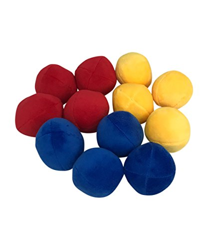 12 Pack Plush Squeaky Balls for Dogs or Cats - Red, Blue, Yellow ()