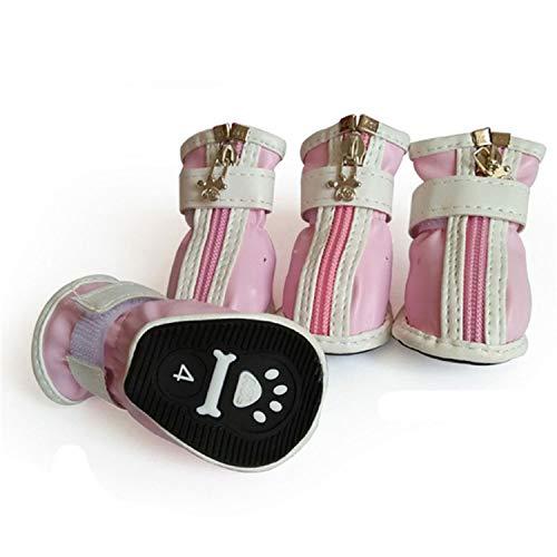 Waterproof Dog Shoes Cats 4pcs / Set Dog Boots Sport rain Shoes Non-Slip pet Sneakers Supplies,Pink,5 -