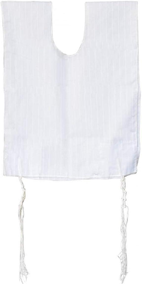 White Polycotton Tallit Katan with Wool Tzitzit