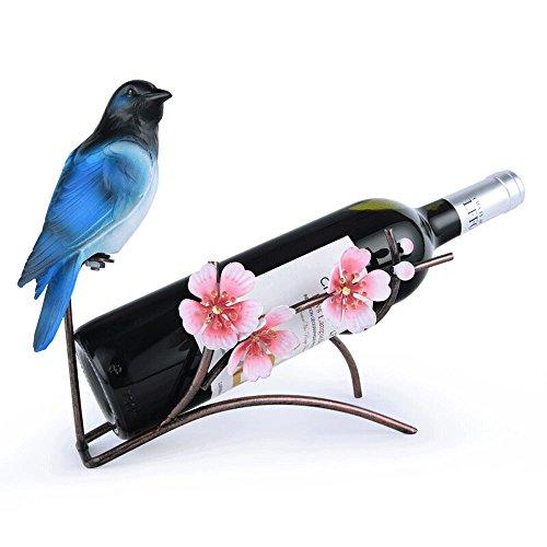 KMYX Vintage Europea Estante del Vino de Hierro Forjado Birdie Vino Estante Exhibidor Titular de la Botella de Almacenamiento...