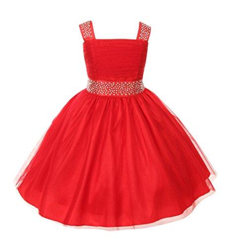 Bt Kids Dress (Cinderella Couture Big Girls' Sparkling Rhinestone Party Dress 10 Bt Red 1195)