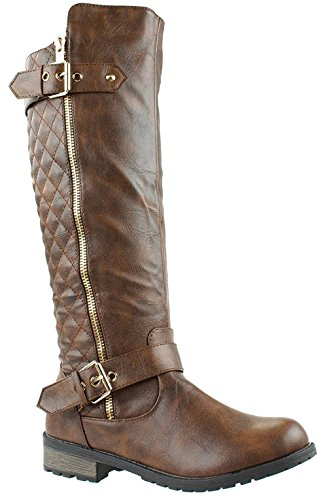 Mango Accent Women's Riding 21 15 Quilted Boots Zipper Forever Brown Link qxEOBwF5BY