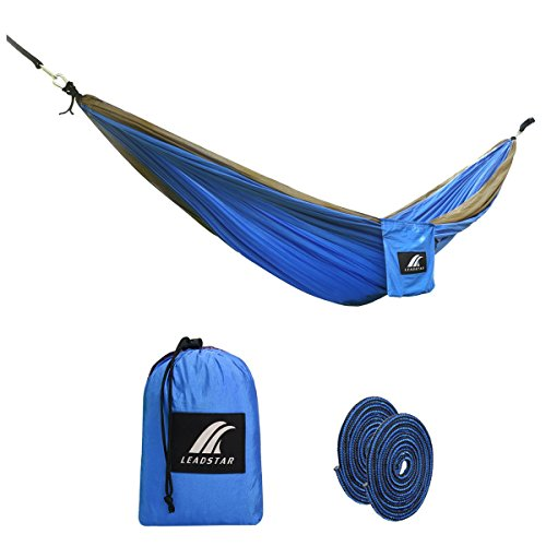 LEADSTAR Double Hammock, Durable Parachute Nylon Made, Lightweight, Compact & Portable Hammock Bed for Any Indoor or Outdoor Spaces - Camping, Travel, Hiking, Garden, Porch, Backyard (Blue+Camel)