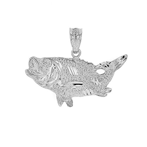 925 Sterling Silver Sea Bass with Tail Up Pendant ()