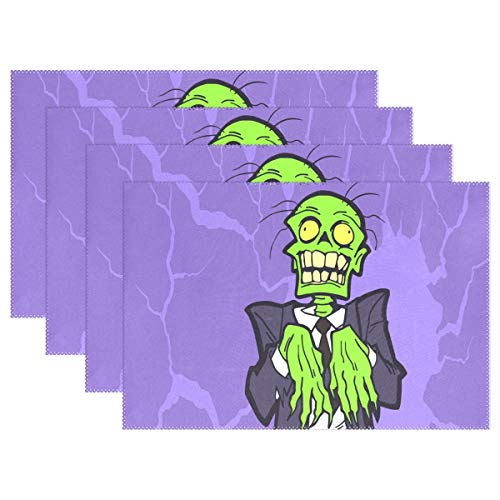 My Daily Halloween Zombie Cartoon Placemats for Dining Table Set of 4 Heat Resistant Washable Polyester Kitchen Table Mats -