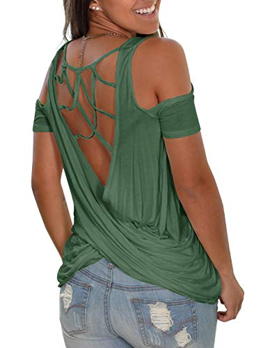 Jeanewpole1 Womens Sexy Cold Shoulder T Shirts Criss Cross Twist Open Back Short Sleeve Blouses Tops Green Draped Open Back Cocktail