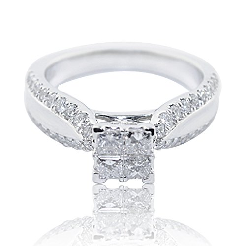 - Midwest Jewellery 1cttw Princess Cut Diamond Engagement Ring Cathedral Style 10K White Gold