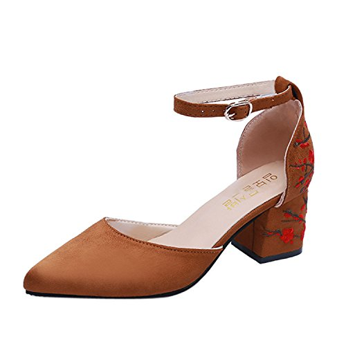 Embroidered Brown Toe Pointed Strap Shoes Shallow Square High FGHHRYT Flower Women Heel Heel Ankle IZROR4