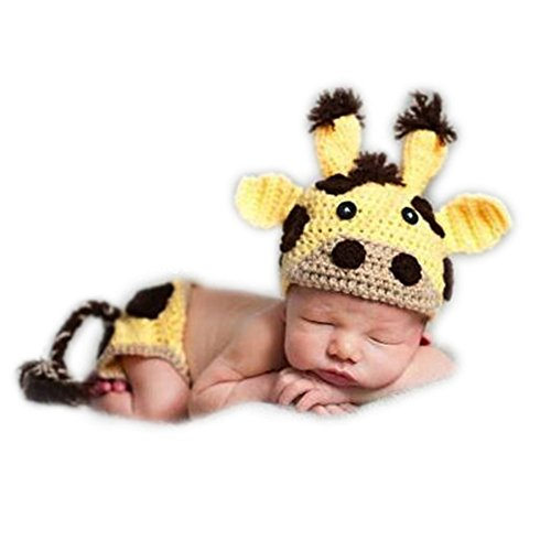 Fashion Unisex Newborn Girl Boy Baby Outfits Photography Props Cattle Cow Hat -