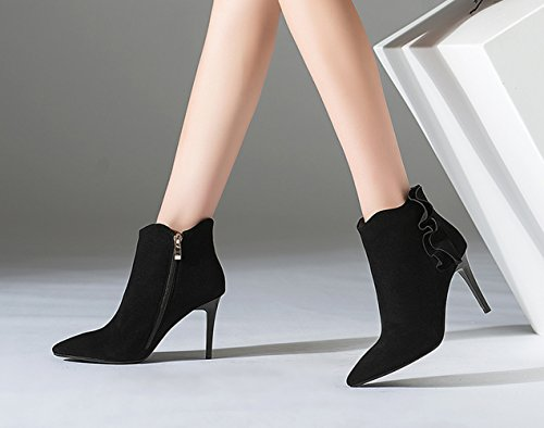 Honeystore Womens Leather Booties Ruched Pointed Side Zip Toe Martin Boots Stiletto Heel Black URsB7