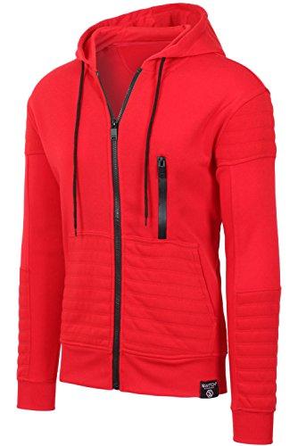JC DISTRO Mens Hipster Hip Hop Quilted Fleece Zip-Up W/Zipper Detail Red Hoodie L (Sweatshirt Red Zipper)