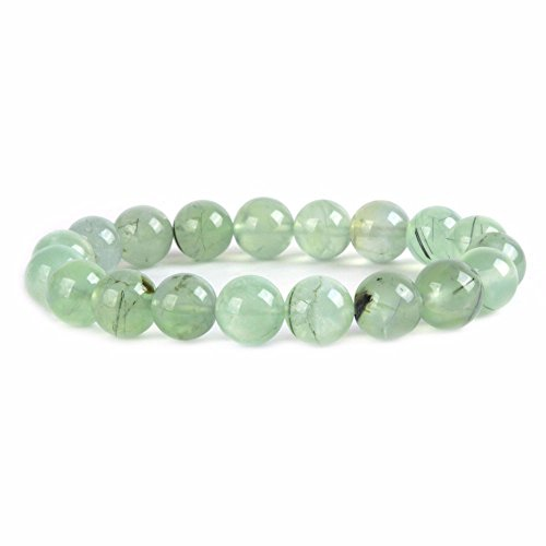 Justinstones Natural Green Prehnite Gemstone 10mm Round Beads Stretch Bracelet 7