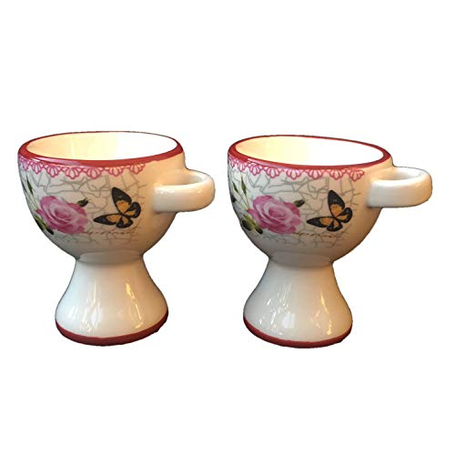 British Style Ceramic Egg Cups Country Garden Rose and Butterfly Design - Set of 2 -