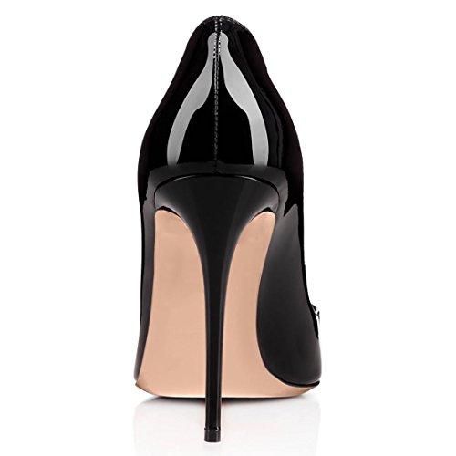 Coolcept Dames Talons Hauts Pompes Stiletto Avec Des Coeurs Rouges Chaussures De Fête De Mariage Noir