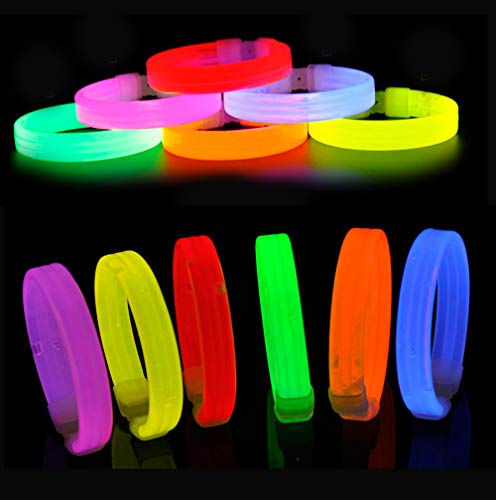 yuqinBB Glow in The Dark Party Supplies,Assorted Light-up Triple Wide Wristbands in The Dark with Connectors Inside (Glow Sticks -