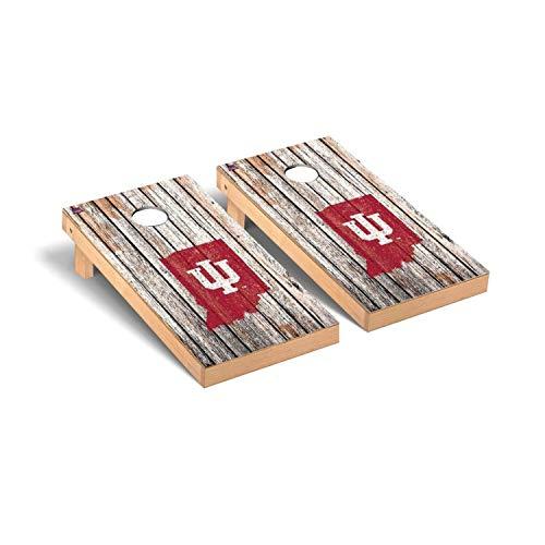 Victory Tailgate Regulation Collegiate NCAA Weathered Series Cornhole Board Set - 2 Boards, 8 Bags - Indiana IU Hoosiers ()