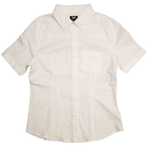 (Lee Uniforms Junior's Short Sleeve Stretch Oxford Blouse, White, Medium)