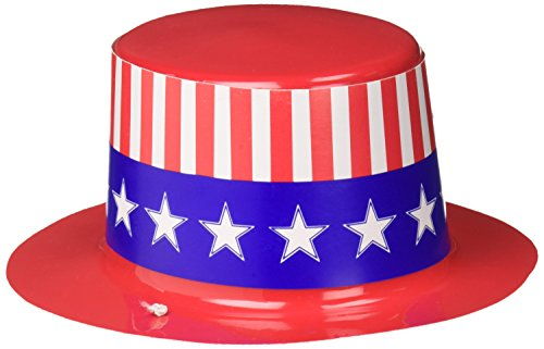 Amscan Stars and Stripes Fourth of July Mini Top Hat Accessory, Plastic, 2