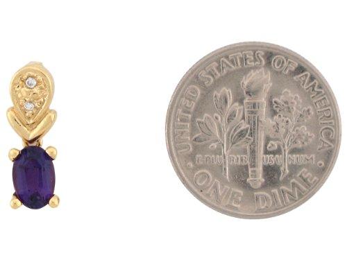 9ct Or Jaune Joli Pendentif Femme Goutte 1.4cm Améthyste Et Diamant