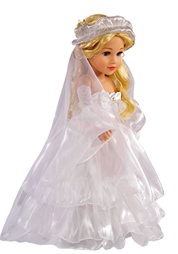 Doll Dress For 18 Inch American Doll White Floor Length Princess Bride Wedding Dress With Veil Sleeves For Amercan Girl by dayshopping