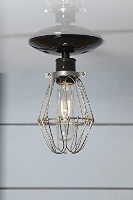 Vintage Wire Cage Light Ceiling Mount - Black