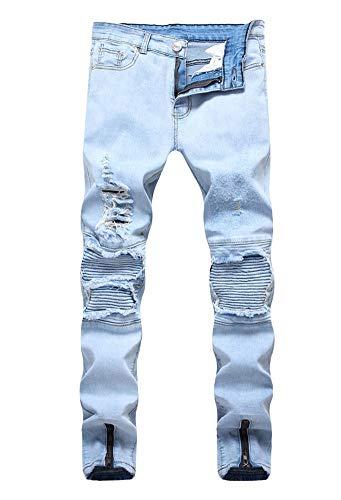 Versaces Hombres Jeans Locomotora Pliegue de la Rodilla Agujero Cremallera Lateral Elasticidad Pies pequeños Pantalones Color 1