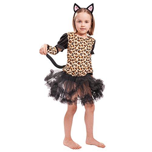 EraSpooky Girl's Halloween Little Cute Leopard Costume Dress, Small