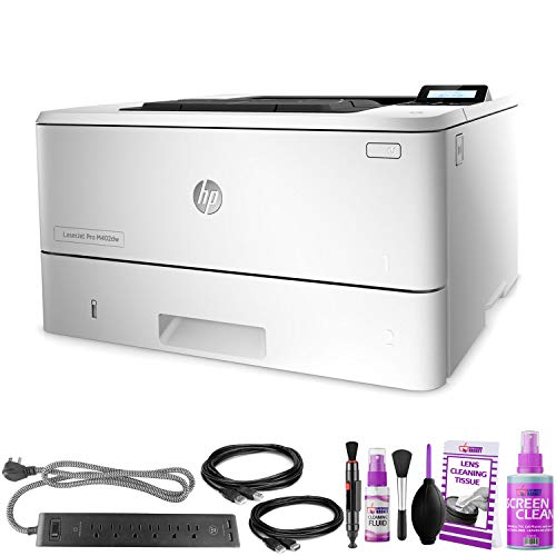HP Laserjet Pro M402dw Monochrome Laser Printer - with Extra Extension Cables - Surge Protector - Productivity Bundle