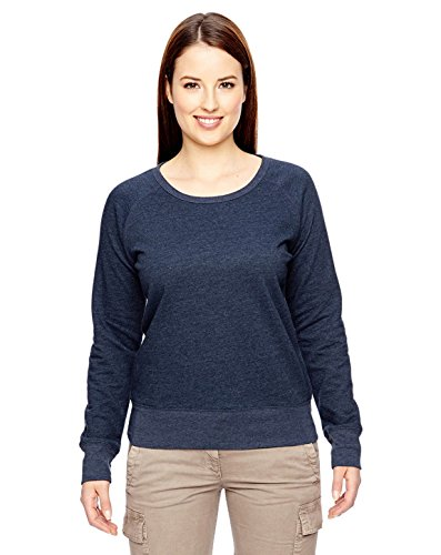 econscious Womens 7 Oz. Organic/Recycled Heathered Fleece Raglan Pullover (EC4505)- Water,X-Large