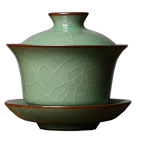 Gaiwan Kung Fu Teacups with Lid 5-Ounce Teacup and Saucer Set Glazed Crack Porcelain Chinese Celadon(Army Green Crack)