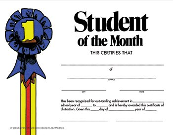 Hayes School Publishing VA228CL Student of the Month- Set of 30 8.5'' X 11'' Certificates