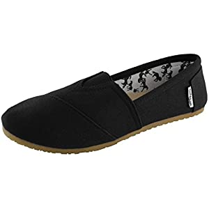 DailyShoes Women's Classic Flats Memory Foam Cushioned Elastic Gore Soft Canvas Daily Slip-On Casual Sneaker Flat Shoes