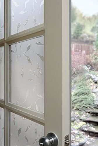 Artscape 01-0128 Etched Leaf Window Film, 24-by-36-Inch, Whites