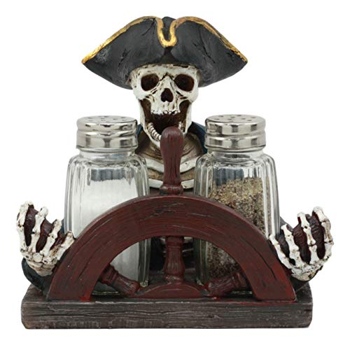 Accessories Statues - Ebros Grinning Pirate Captain Skeleton Steering Wheel Salt and Pepper Shaker Holder Statue Set 6