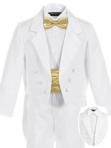 Bello Giovane Boys White Penguin Tuxedo with Colored Cummerbund 7 Piece Set (14, ()