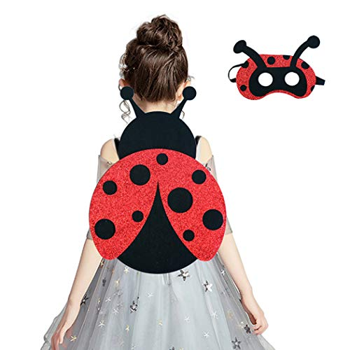 Ladybug Wings Costume for Toddler Girls with Mask for Kids Halloween Glitter Dress-up Red Black]()