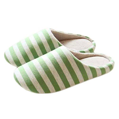 Fortuning's JDS Unisexo Adultos Pareja acogedor Lana Casa Calzado ovejas encantadoras Confortable Zapatillas Verde