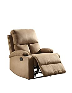 ComfortScape Modern Recliner Chair With Cup Holder, Light Brown Microfiber