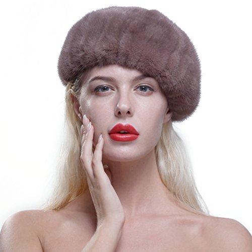 URSFUR Genuine Mink Beret Ladies Winter Fur Hat Cap Sand Brown