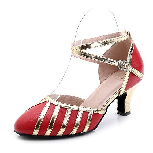 Hutt Zapatillas de Baile Mujer de Piel de Oveja Adulta Tamaño 22.5cm a 25.0cm Altura 7.5cm Negro, Rojo Verano Zapatillas de Baile Latinas Suaves Rojo