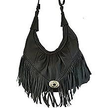 Texcyngoods Premium Leather Fringed LARGE Hobo Handbag Western Style Purse