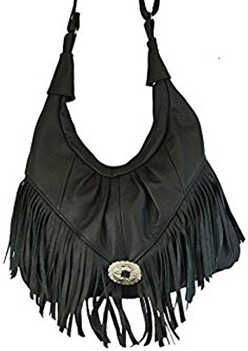 Western Style Leather Shoulder Bag (Texcyngoods Premium Leather Fringed LARGE Hobo Handbag Western Style Purse)