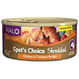 Halo Spot's Choice Grain Free Shredded Chicken & Chickpea Canned Dog Food, Case of 12