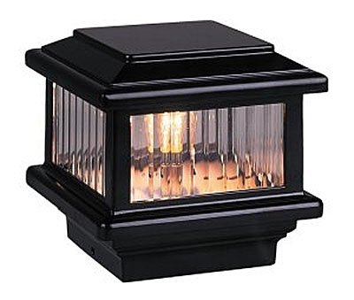 Titan Flat Top Deck Light, Black, Fits 3 1/2'' Post, 3 5/8'' Actual Opening, 1.6W LED by Aurora Deck Lighting