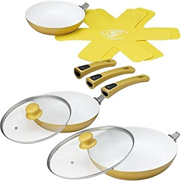 Amazon.com: Shop Japan Cerafit Deluxe Set IH-compatible Ceramic Frying Pan: Kitchen & Dining
